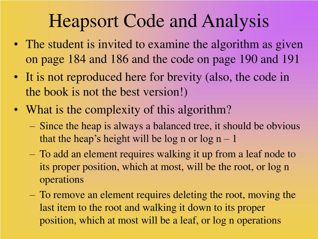 Heapsort Code and Analysis