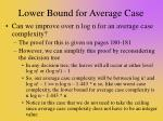 lower bound for average case