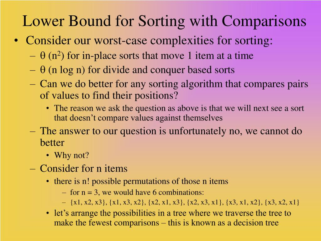 Lower Bound for Sorting with Comparisons