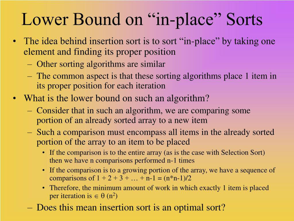 "Lower Bound on ""in-place"" Sorts"
