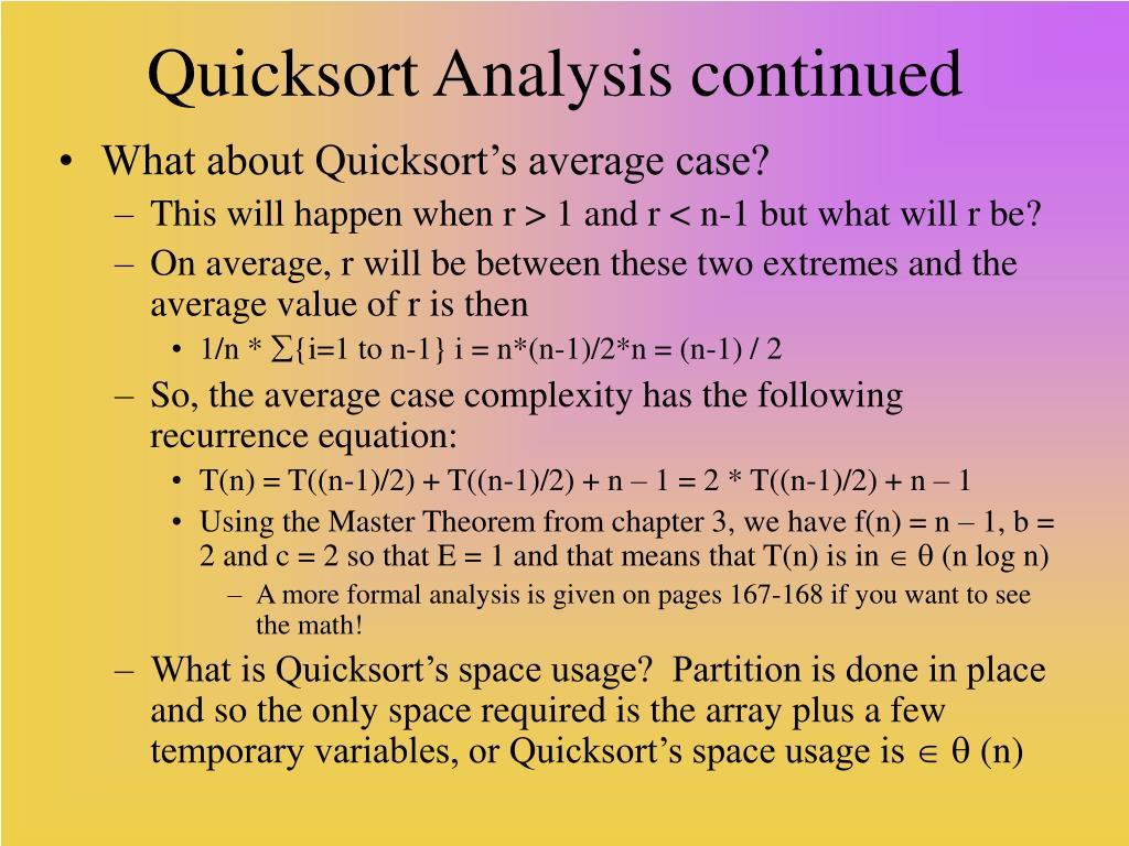 Quicksort Analysis continued