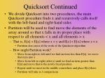 quicksort continued