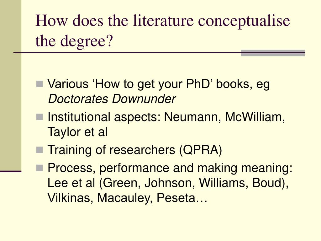 How does the literature conceptualise the degree?