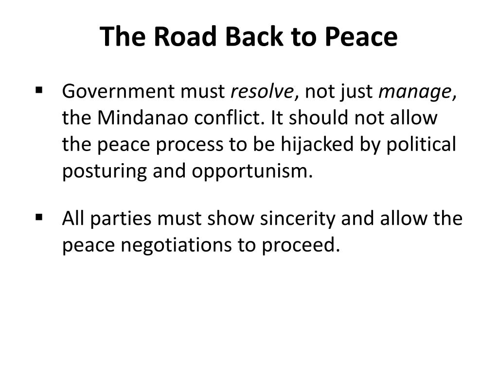 The Road Back to Peace