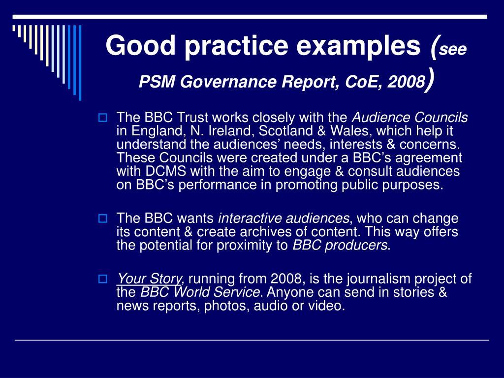 Good practice examples