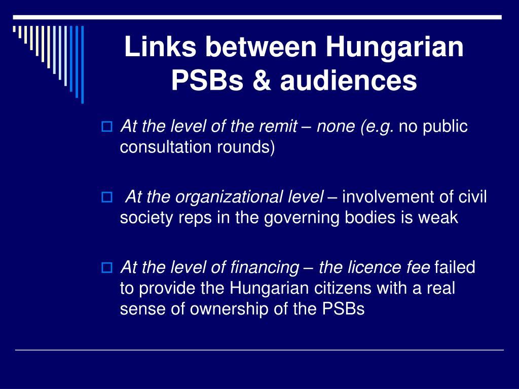 Links between Hungarian PSBs & audiences