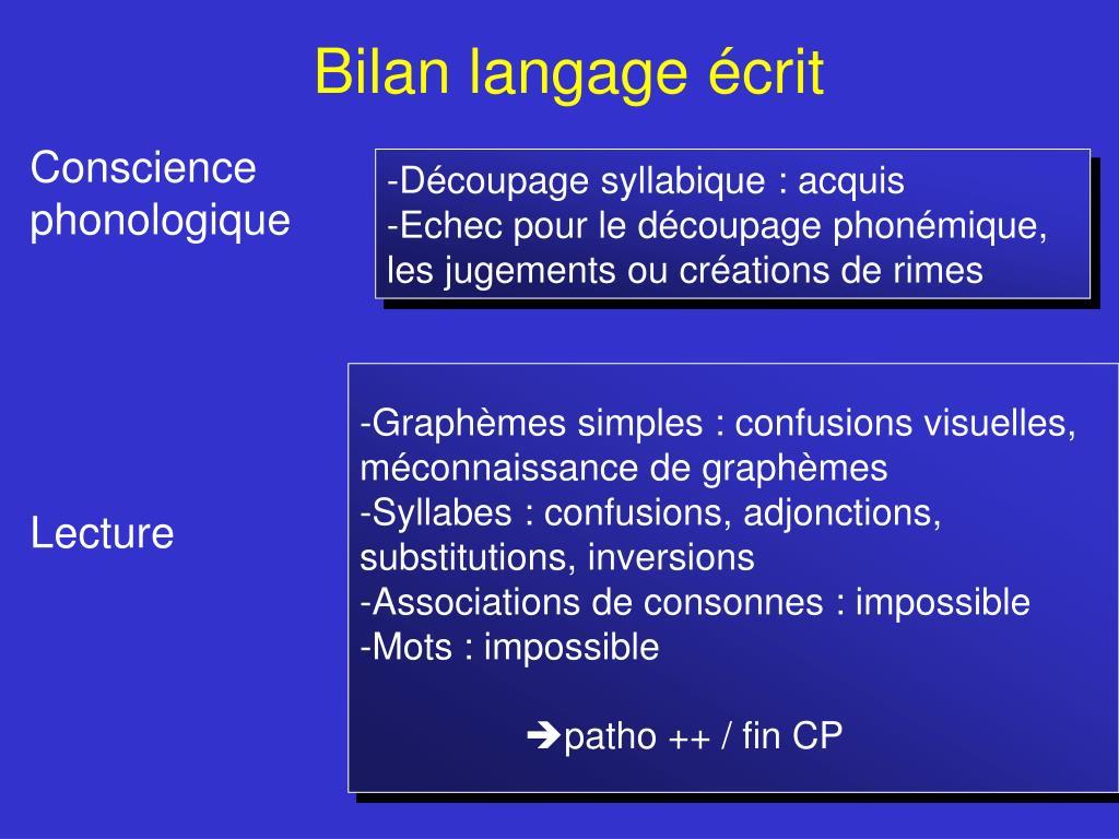 Bilan langage écrit