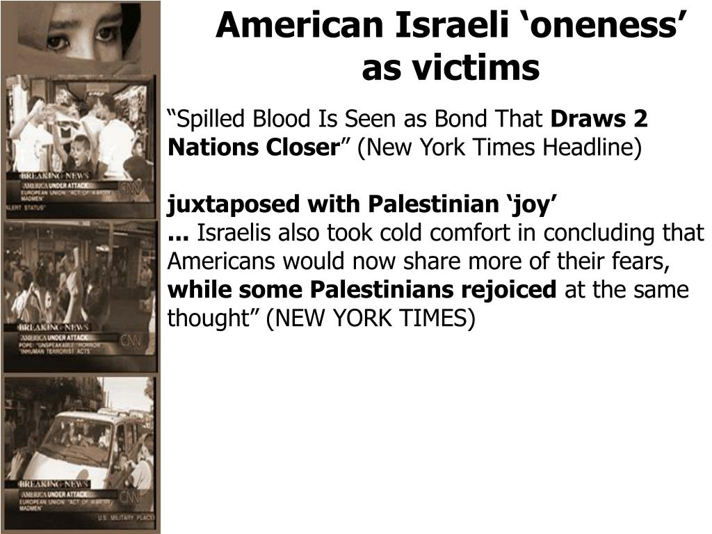 American Israeli 'oneness' as victims