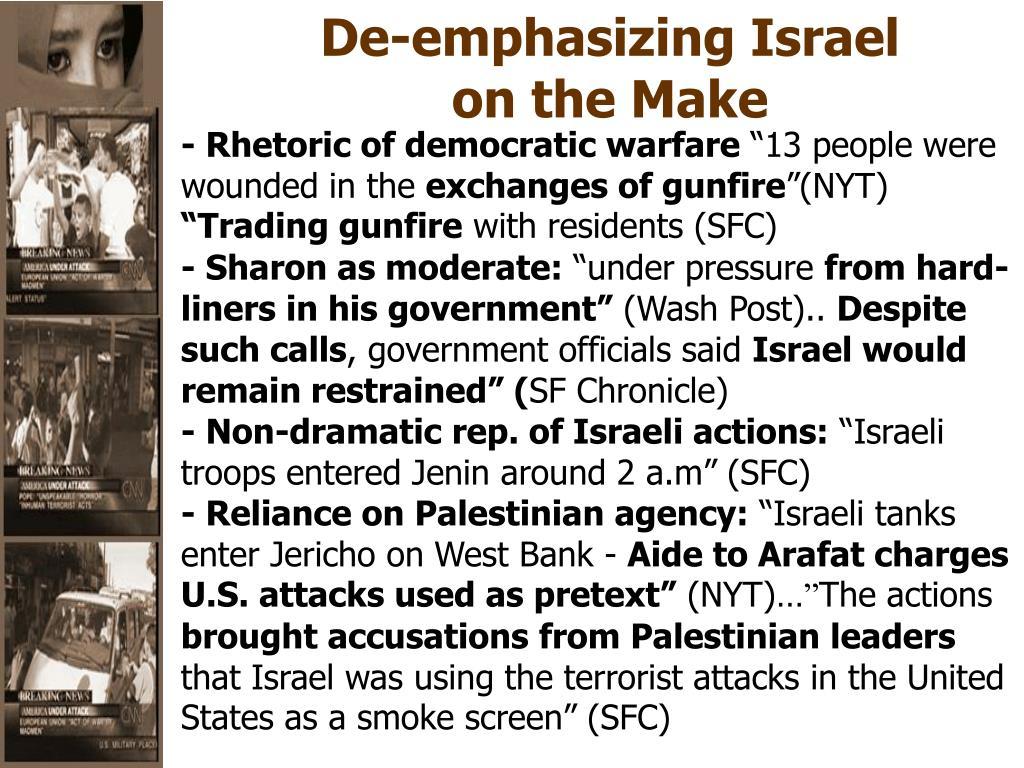 De-emphasizing Israel