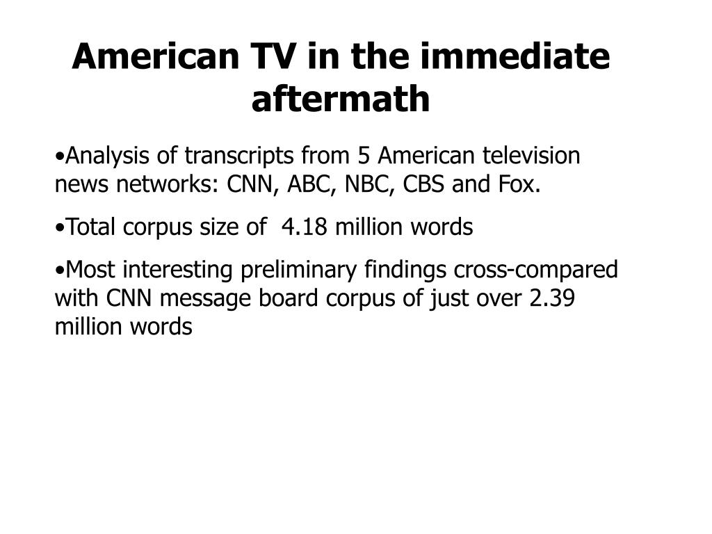 American TV in the immediate aftermath