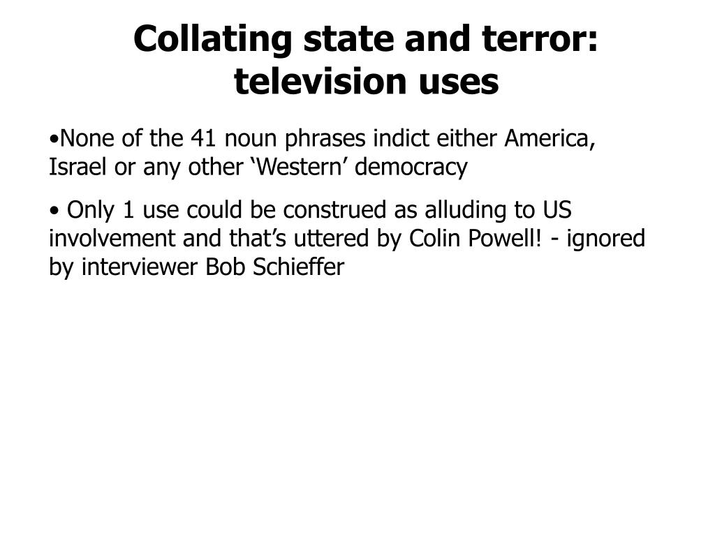 Collating state and terror: