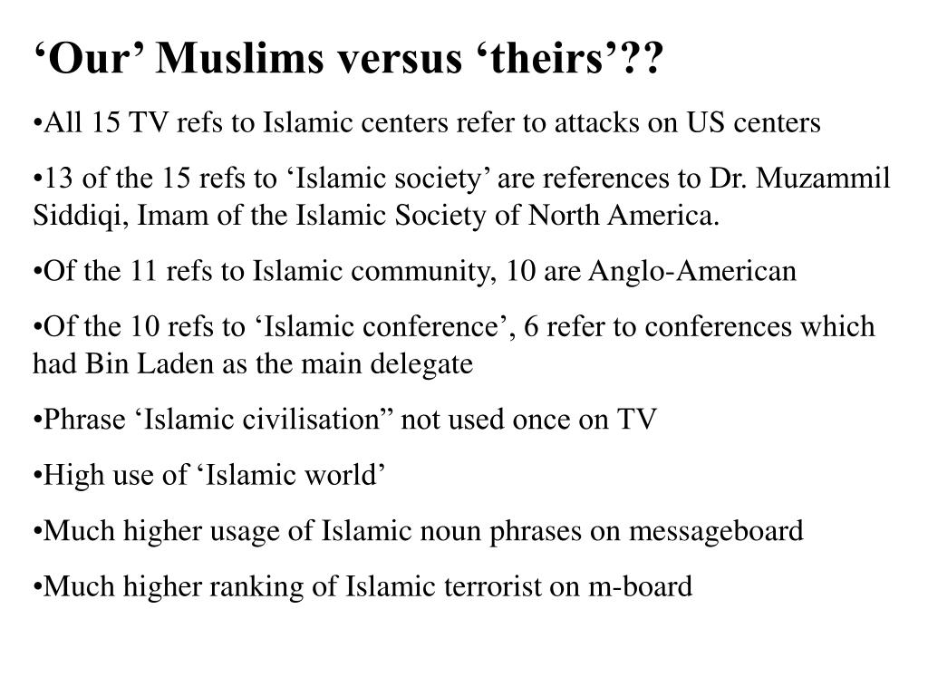 'Our' Muslims versus 'theirs'??