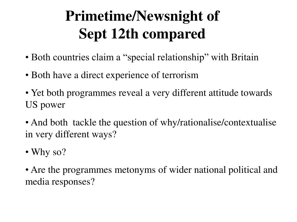 Primetime/Newsnight of