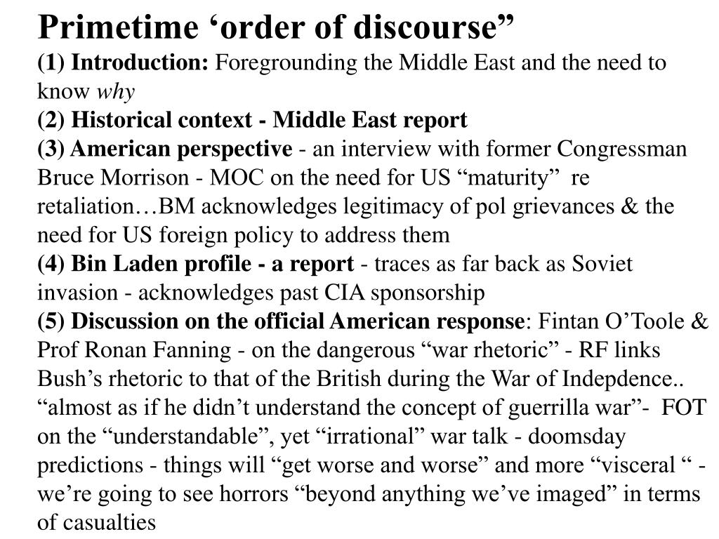 "Primetime 'order of discourse"""