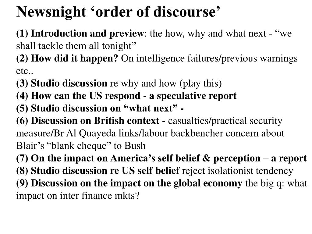 Newsnight 'order of discourse'