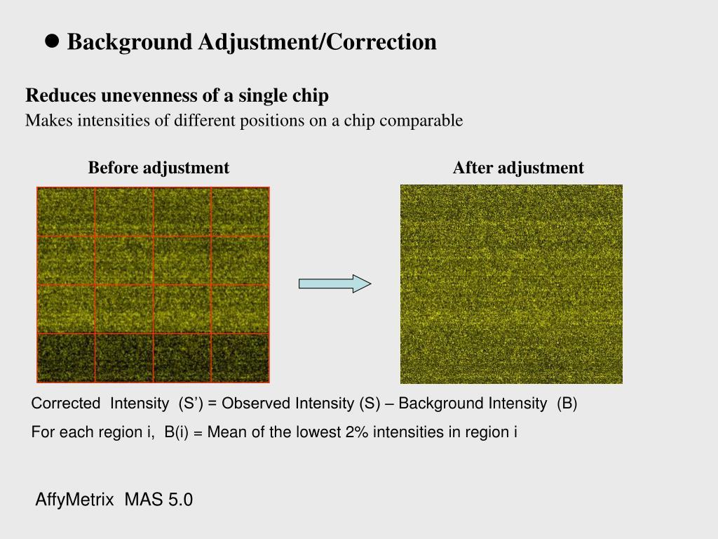 Background Adjustment/Correction