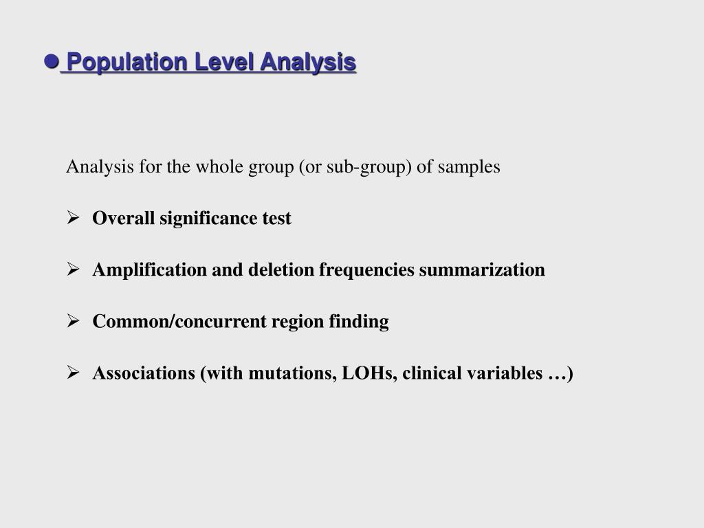 Population Level Analysis