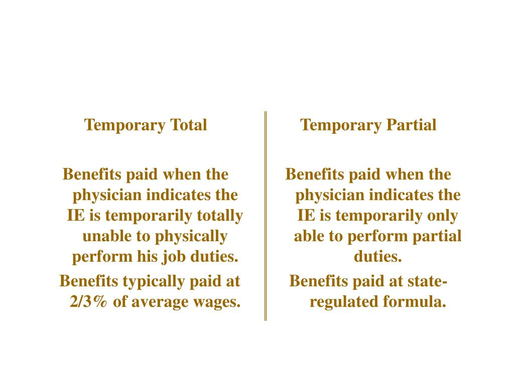 Temporary Total/Partial