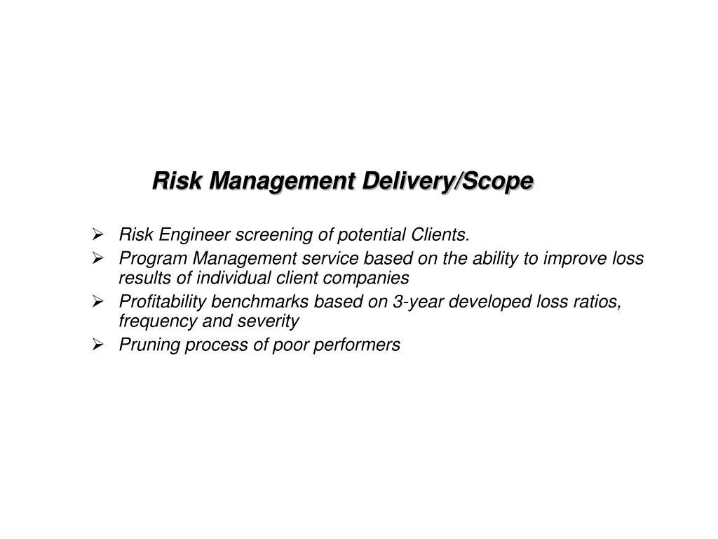 Risk Management Delivery/Scope