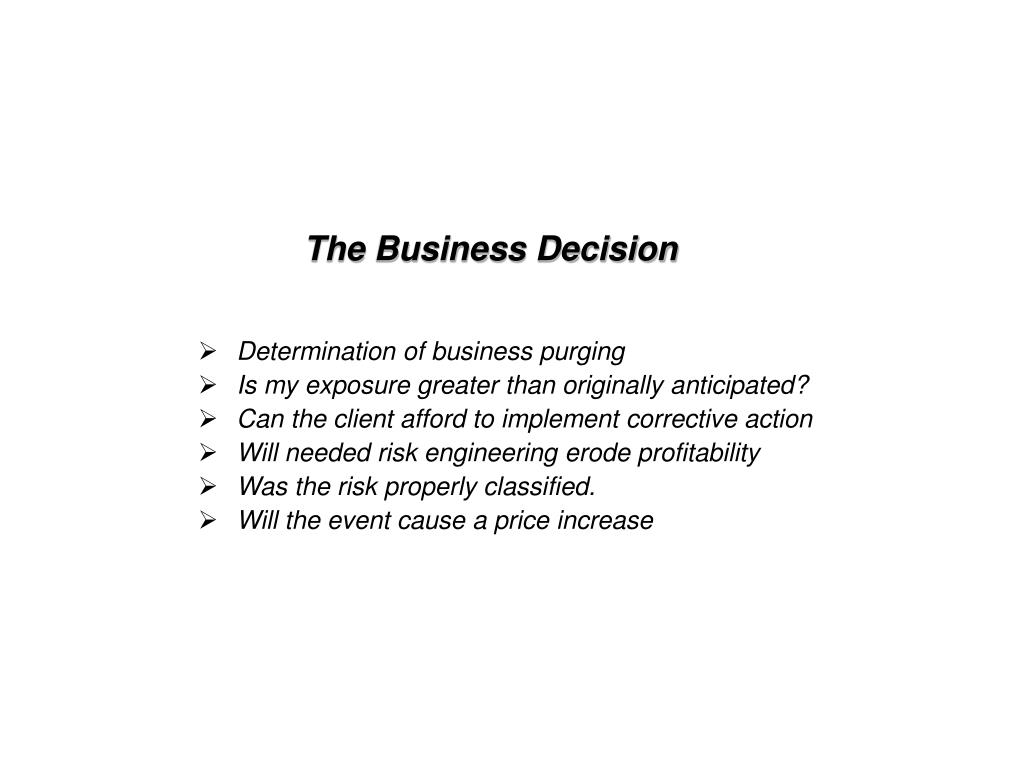 Determination of business purging