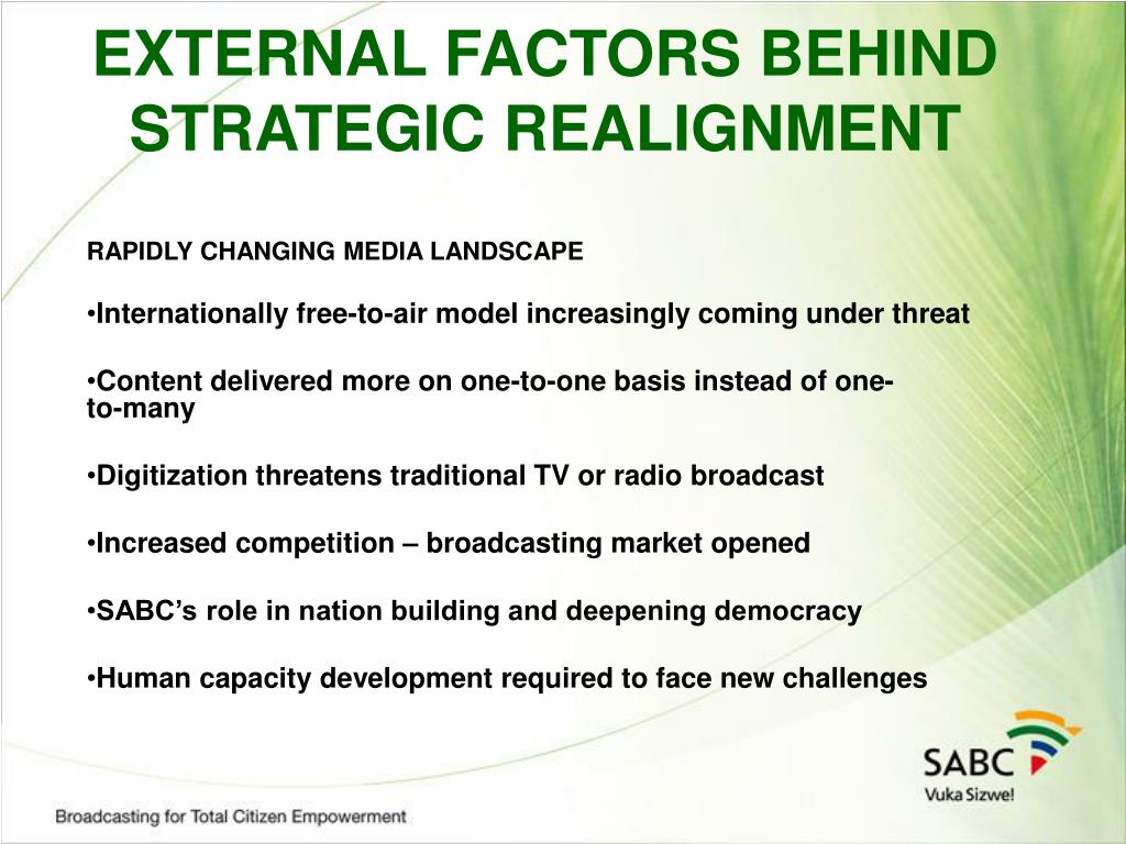 EXTERNAL FACTORS BEHIND STRATEGIC REALIGNMENT