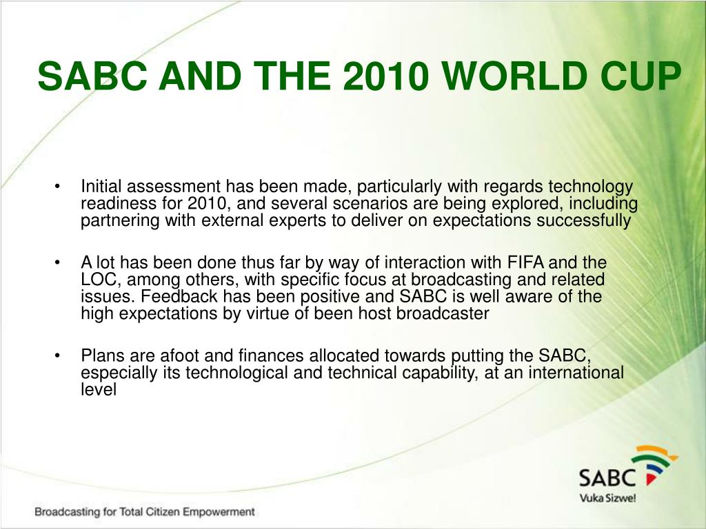 SABC AND THE 2010 WORLD CUP