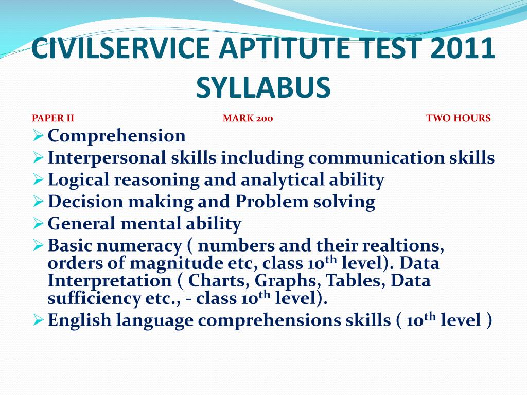 CIVILSERVICE APTITUTE TEST 2011