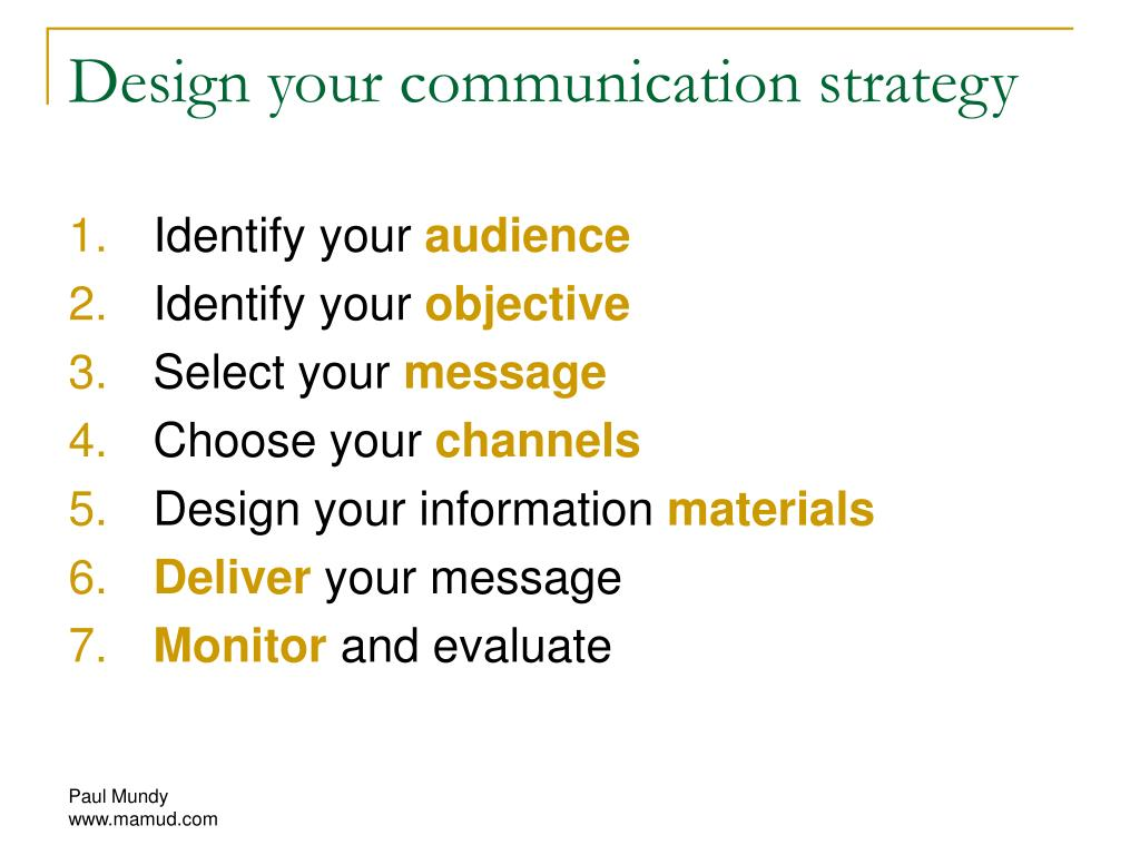 Design your communication strategy