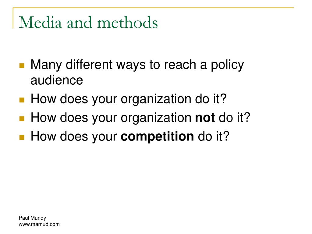 Media and methods
