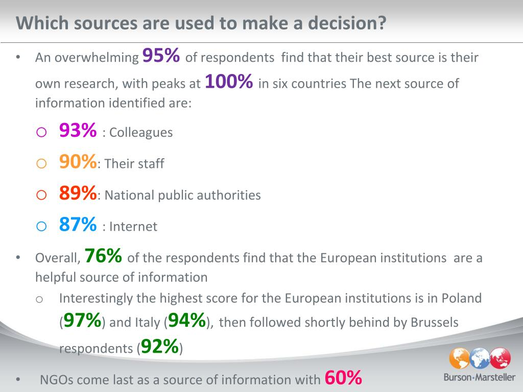 Which sources are used to make a decision?