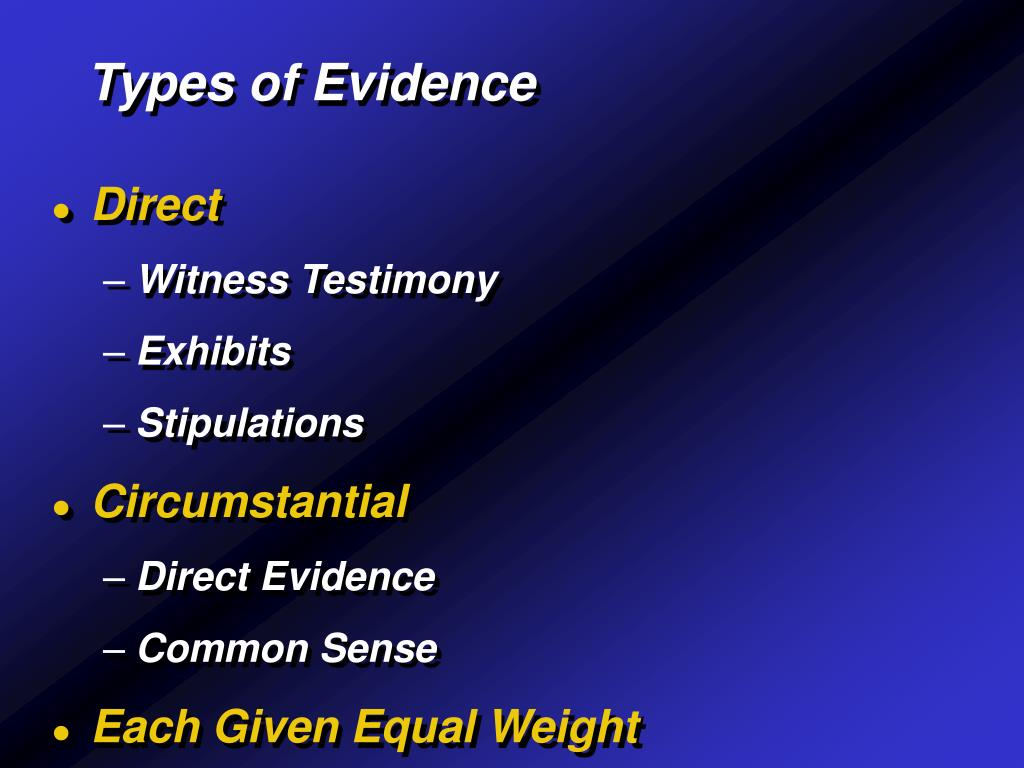 types of evidence Evidence, broadly construed, is anything presented in support of an assertion this support may be strong or weak the strongest type of evidence is that which.