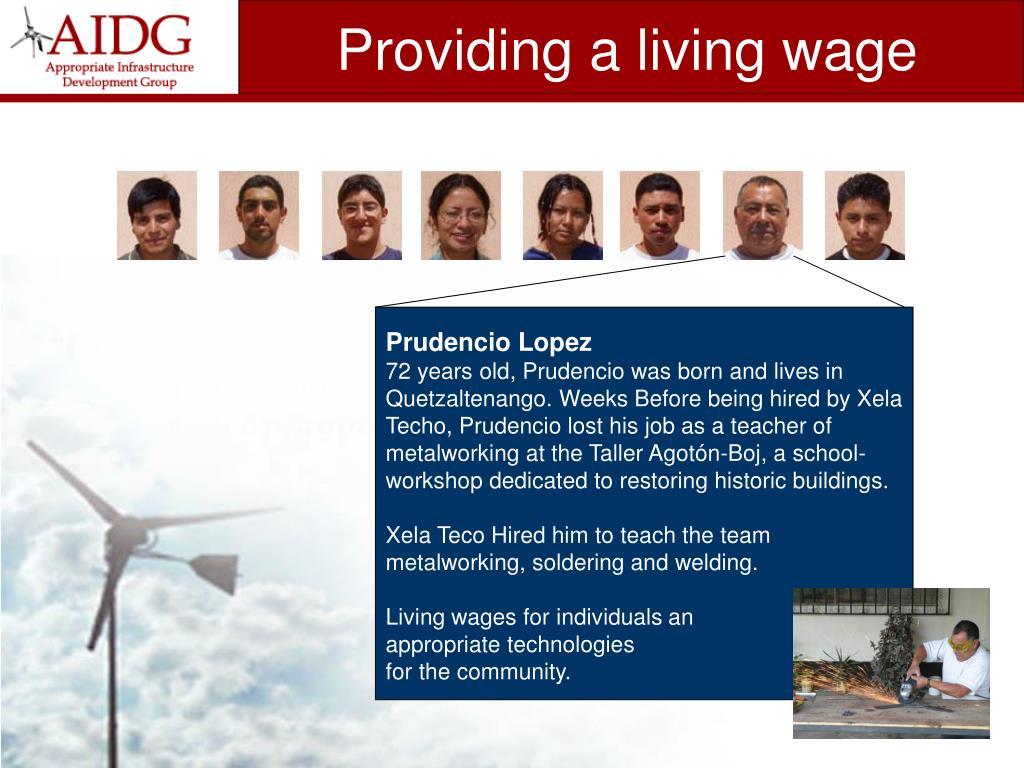 Providing a living wage