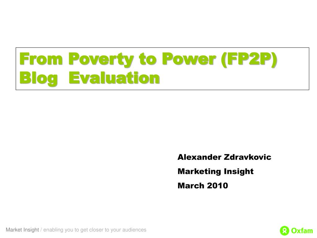 From Poverty to Power (FP2P) Blog  Evaluation