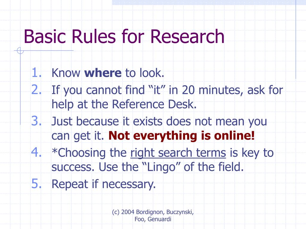 Basic Rules for Research