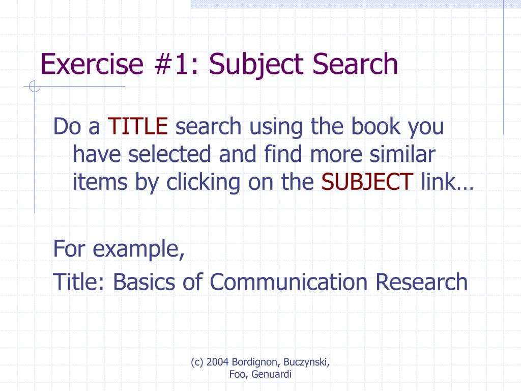 Exercise #1: Subject Search