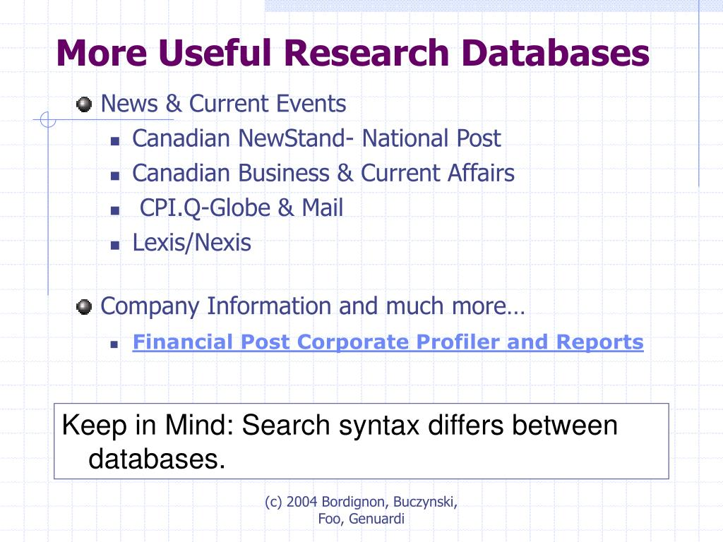 More Useful Research Databases