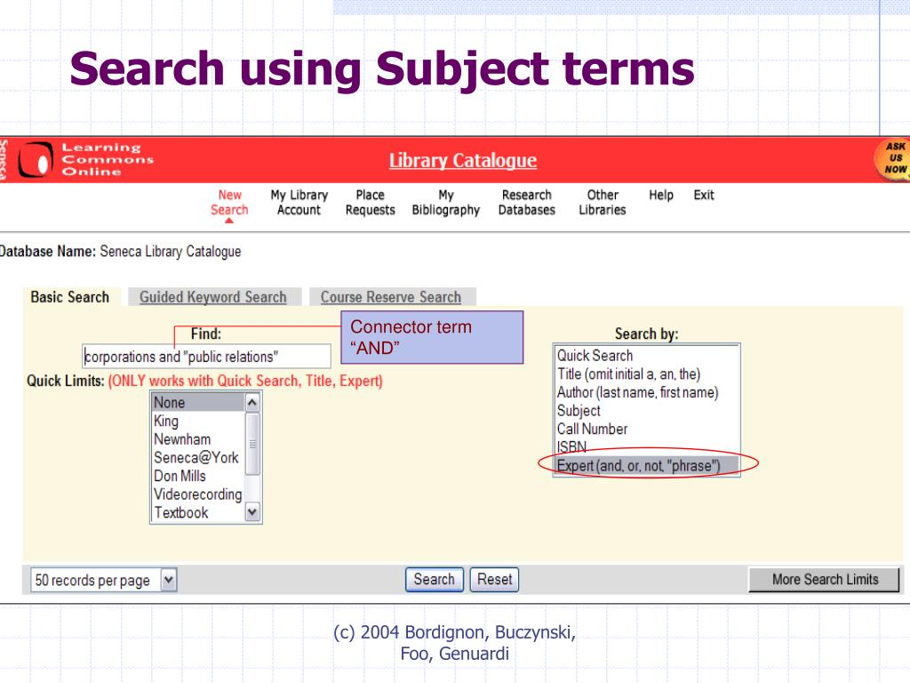 Search using Subject terms