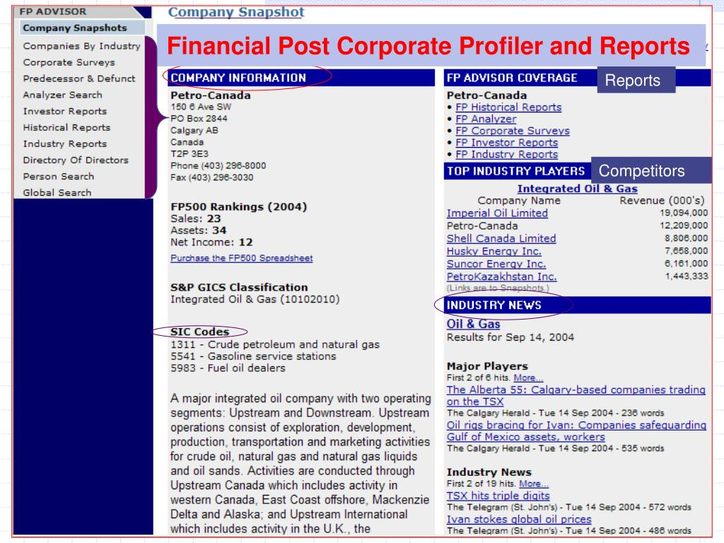 Financial Post Corporate Profiler and Reports
