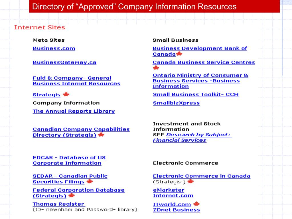 "Directory of ""Approved"" Company Information Resources"