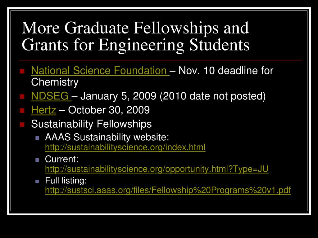 More Graduate Fellowships and Grants for Engineering Students
