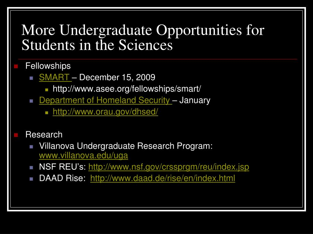 More Undergraduate Opportunities for Students in the Sciences
