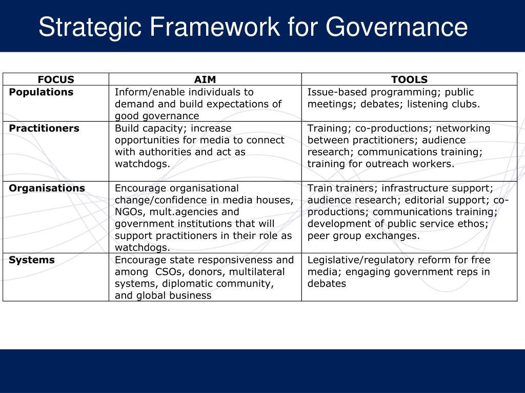 Strategic Framework for Governance