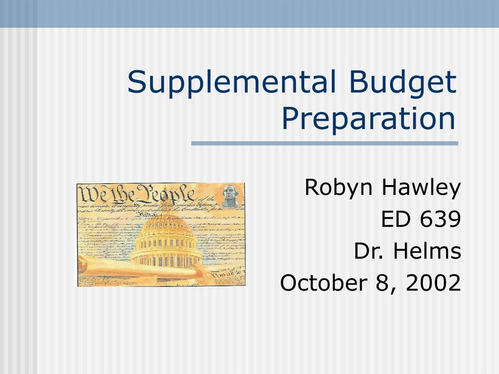supplemental budget preparation