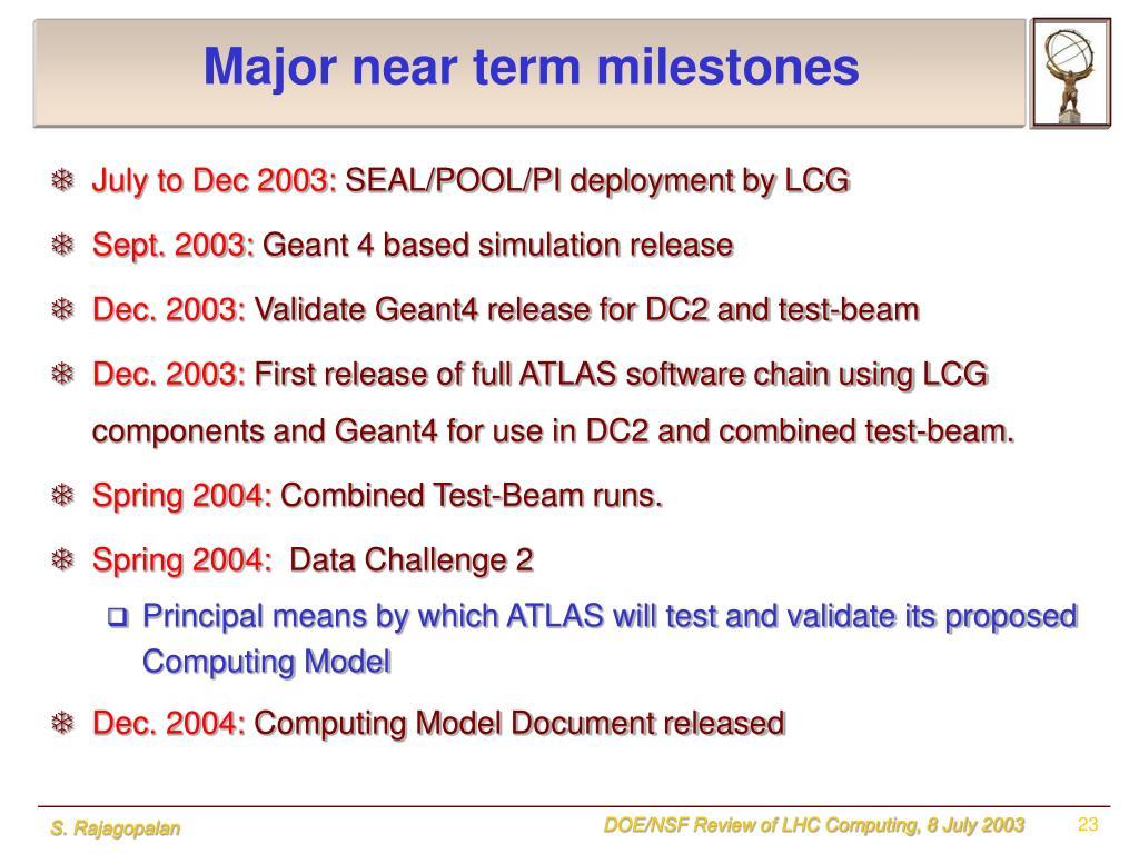 Major near term milestones