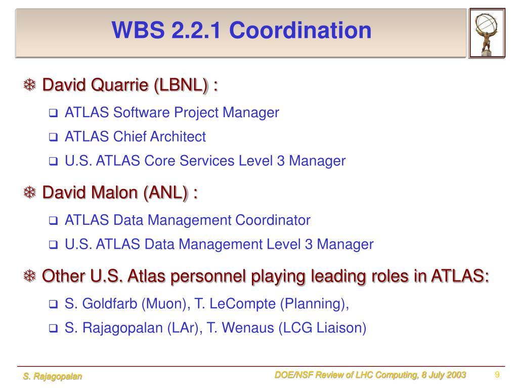 WBS 2.2.1 Coordination