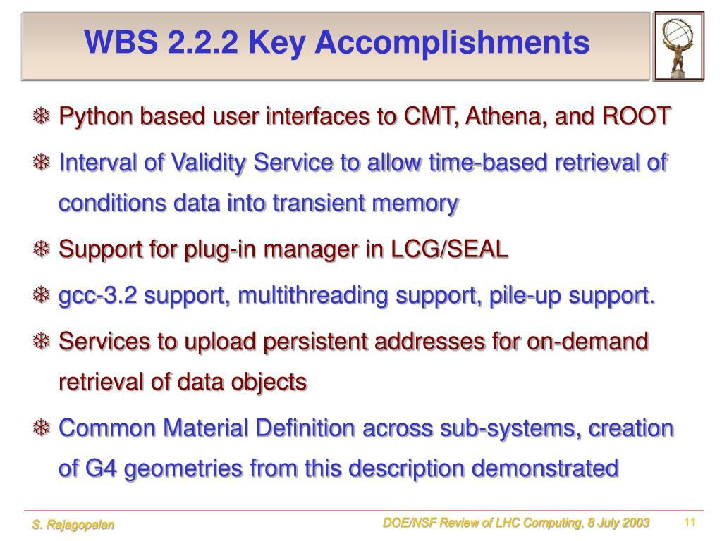 WBS 2.2.2 Key Accomplishments