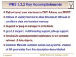wbs 2 2 2 key accomplishments