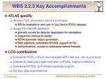 wbs 2 2 3 key accomplishments
