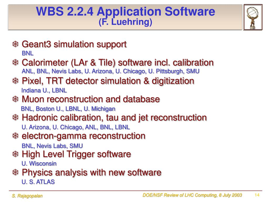 WBS 2.2.4 Application Software