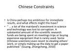 chinese constraints